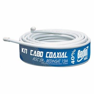 Kit cabo rg59 15mts c/ conector - bedin 1/5/10